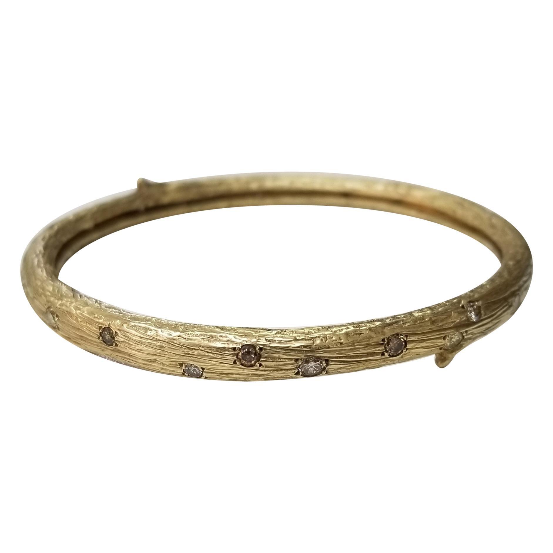 14 Karat Yellow Gold Gresha Signature Bark Bangle with 31 Round Natural Diamonds