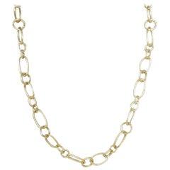 14 Karat Yellow Gold Gresha Signature Bark Finish Link Necklace