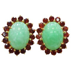 14 Karat Yellow Gold Halo Jade and Garnet Earrings