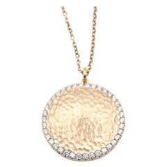 14 Karat Yellow Gold Hammered Diamond Disc Necklace