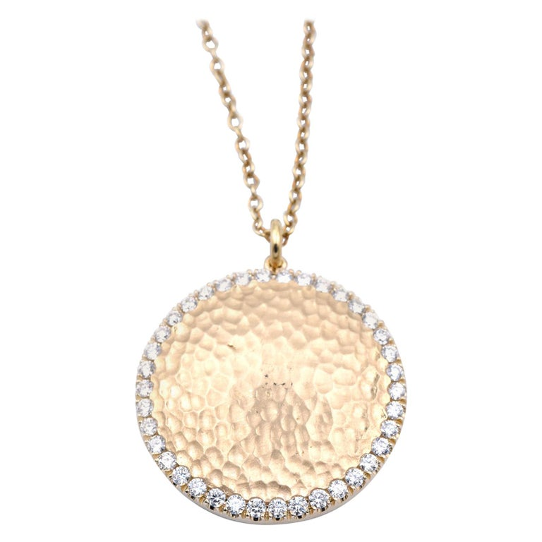 14 Karat Yellow Gold Hammered Diamond Disc Necklace For Sale