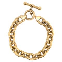 14 Karat Yellow Gold Hammered Link Bracelet 17.3 Grams Made in Italy