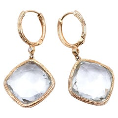 14 Karat Yellow Gold Hammered Prasiolite Drop Earrings