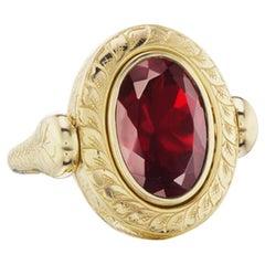 14 Karat Yellow Gold Hand Engraved Garnet Ring