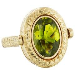 14 Karat Yellow Gold Hand Engraved Peridot Ring
