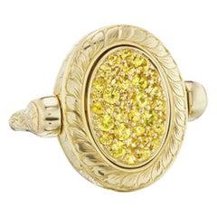 14 Karat Yellow Gold Hand Engraved Yellow Sapphire Pave Ring