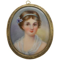14 Karat Yellow Gold Hand Painted Porcelain Cameo Portrait Brooch Pendant