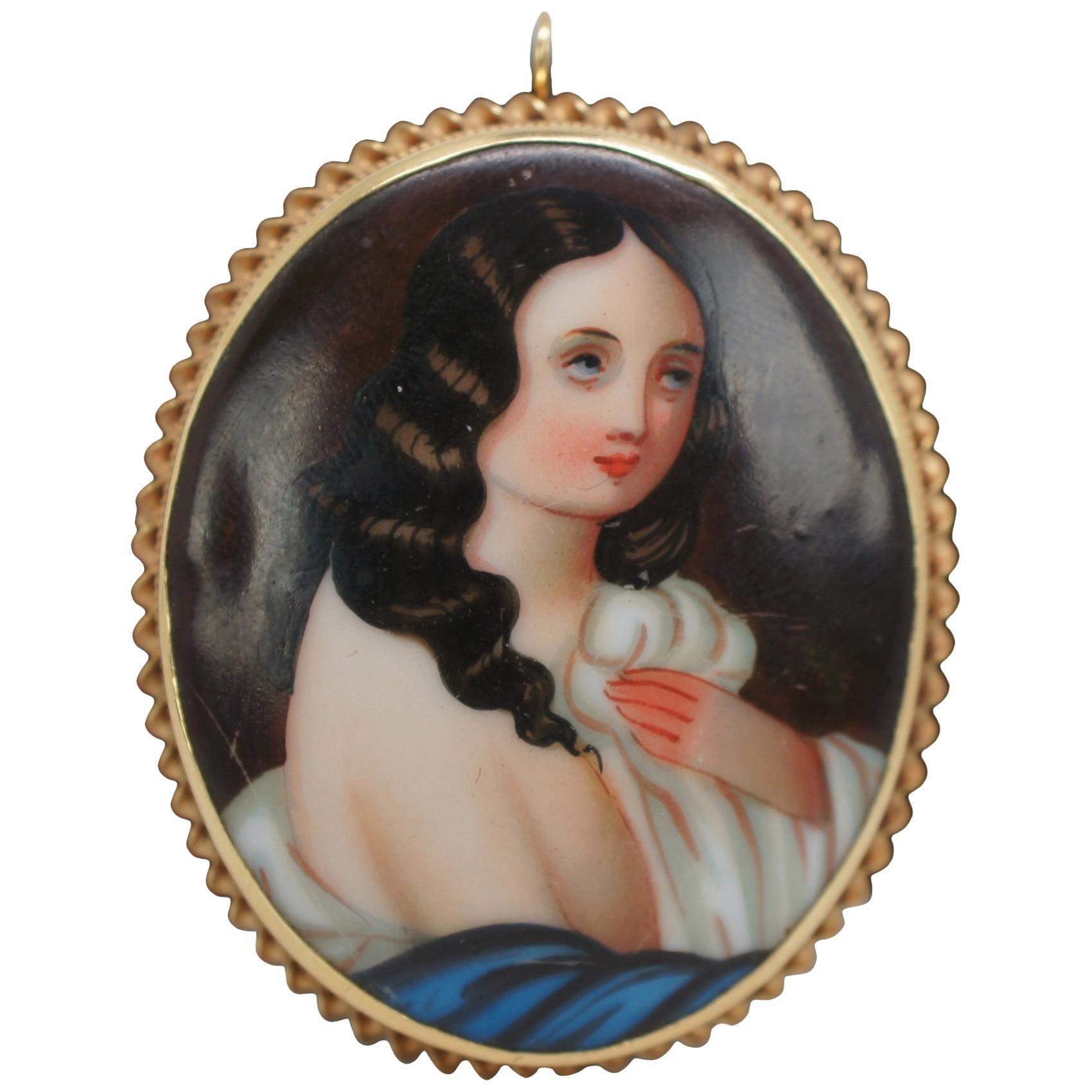 14-Karat Yellow Gold Hand Painted Porcelain Cameo Portrait Brooch Pendant