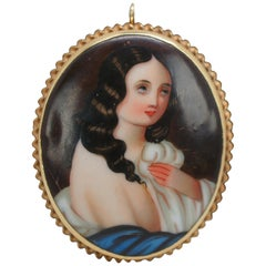 14-Karat Yellow Gold Hand Painted Porcelain Cameo Portrait Brooch Pendant