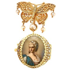 14 Karat Yellow Gold Hand Painted Portrait Miniature Brooch with Hidden Watch