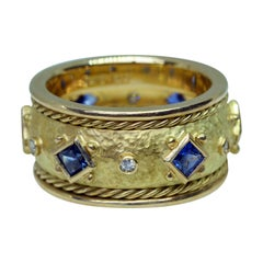 14 Karat Yellow Gold Handmade Sapphire and Diamond Cigar Band