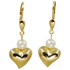 14 Karat Yellow Gold Heart and Pearl Drop Earrings