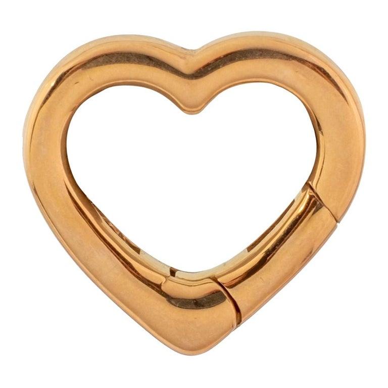 14 Karat Yellow Gold Heart Carabiner Connector For Sale