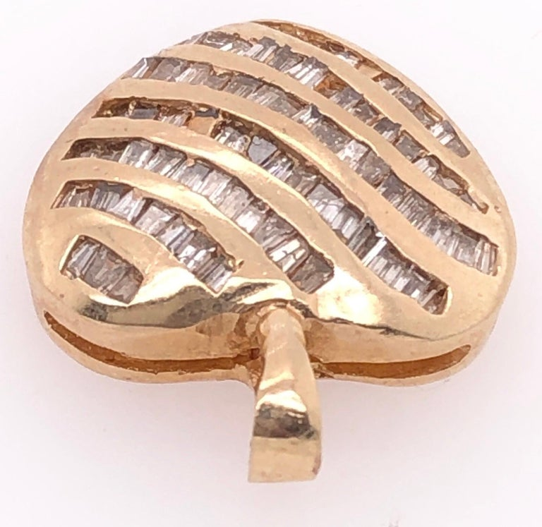 Modern 14 Karat Yellow Gold Heart Charm/Pendant with Diamonds  For Sale