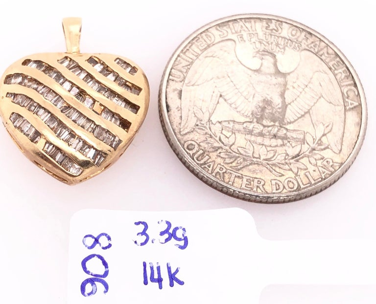14 Karat Yellow Gold Heart Charm/Pendant with Diamonds  In Good Condition For Sale In Stamford, CT