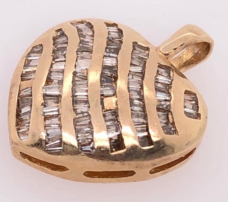 Women's or Men's 14 Karat Yellow Gold Heart Charm/Pendant with Diamonds  For Sale