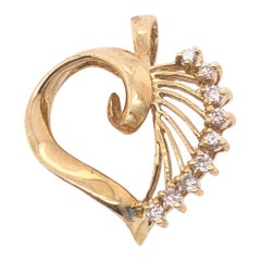 14 Karat Yellow Gold Heart Pendant with Diamond Accents