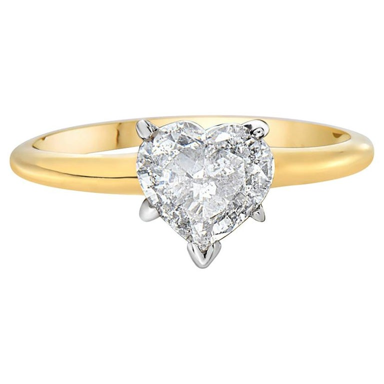14 Karat Yellow Gold Heart Shape Engagement Ring For Sale