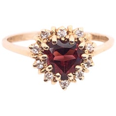 14 Karat Yellow Gold Heart Shape Garnet Solitaire with Diamond Accents Ring