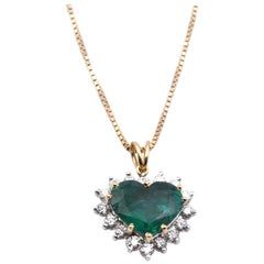 14 Karat Yellow Gold Heart-Shaped Emerald and Diamond Necklace