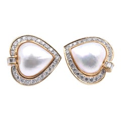 14 Karat Yellow Gold Heart Shaped Mabe Pearl and Diamond Earrings