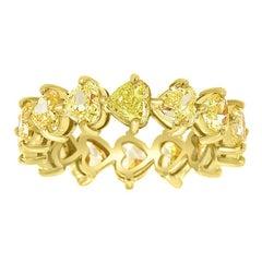14 Karat Yellow Gold Heart Yellow Diamonds Eternity Ring '4 1/2 Carat'