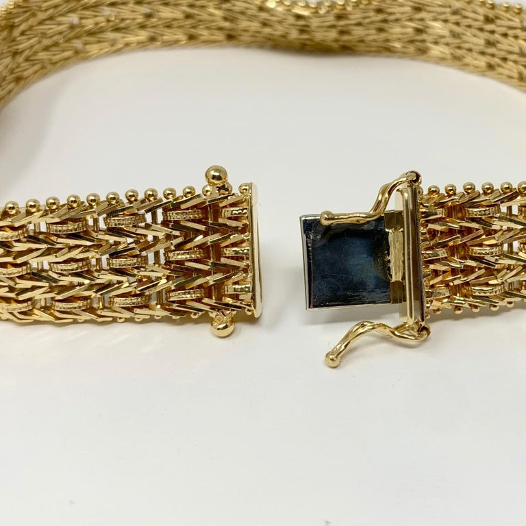 14 Karat Yellow Gold Heavy Beaded Foxtail Link Chain Bracelet 1