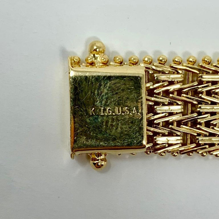 14 Karat Yellow Gold Heavy Beaded Foxtail Link Chain Bracelet 2