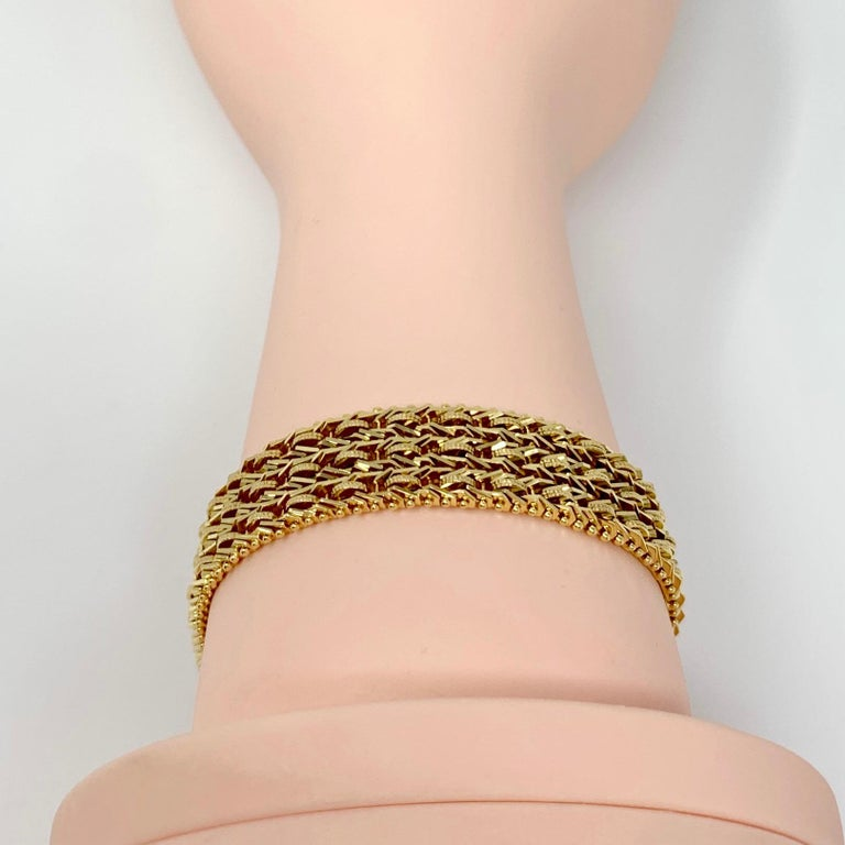14 Karat Yellow Gold Heavy Beaded Foxtail Link Chain Bracelet 3
