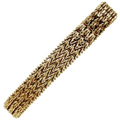 14 Karat Yellow Gold Heavy Beaded Foxtail Link Chain Bracelet