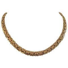 14 Karat Yellow Gold Heavy Ladies Byzantine Link Chain Necklace