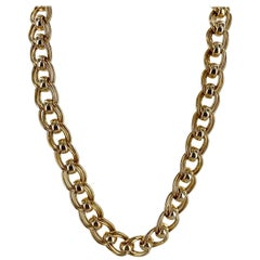 14 Karat Yellow Gold Heavy Link Vintage Necklace