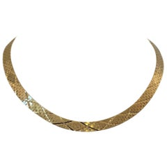 14 Karat Yellow Gold Heavy Solid Diamond Cut Brick Link Necklace