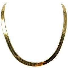 14 Karat Yellow Gold Heavy Thick Herringbone Link Chain Necklace