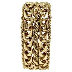 14 Karat Yellow Gold Heavy Wide Curb Rope Bracelet
