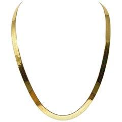 14 Karat Yellow Gold Heavy Wide Long Herringbone Link Chain Necklace