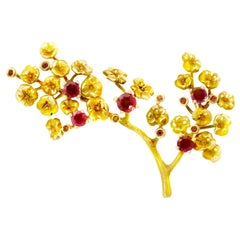 14 Karat Yellow Gold Heliotrope Brooch by the Artist with Rubies and Diamonds
