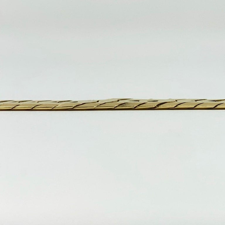 Women's or Men's 14 Karat Yellow Gold Herringbone Link Chain Bracelet For Sale