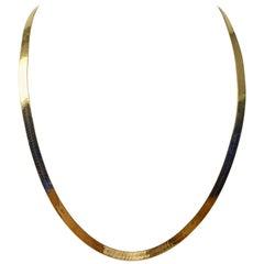14 Karat Yellow Gold Herringbone Link Chain Necklace