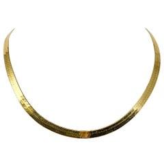 14 Karat Yellow Gold Herringbone Link Necklace