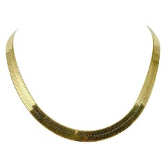 14 Karat Yellow Gold Herringbone Link Wide Chain Necklace