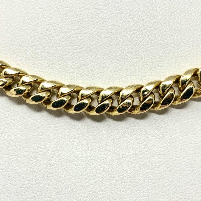 Men's 14 Karat Yellow Gold Hollow Cuban Curb Link Chain Necklace For Sale