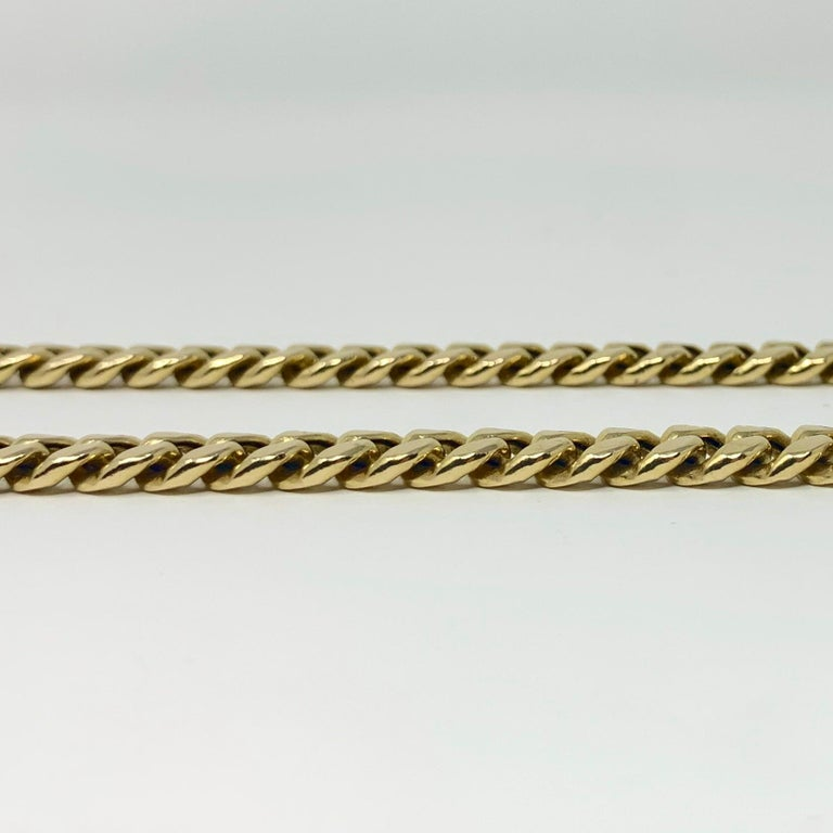 14 Karat Yellow Gold Hollow Cuban Curb Link Chain Necklace For Sale 2