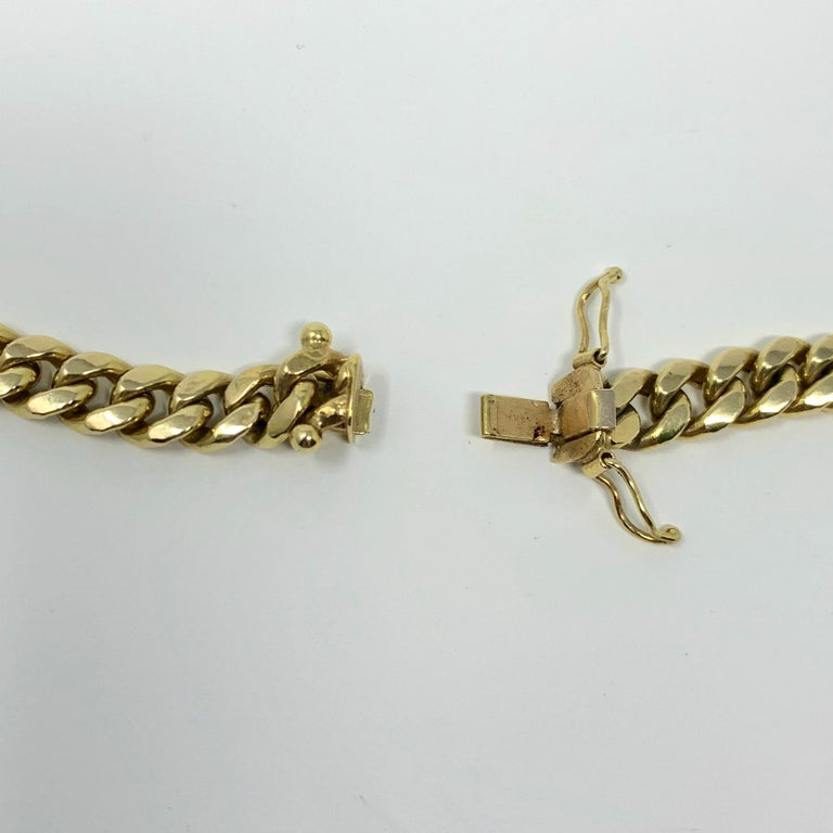 14 Karat Yellow Gold Hollow Cuban Curb Link Chain Necklace For Sale 3
