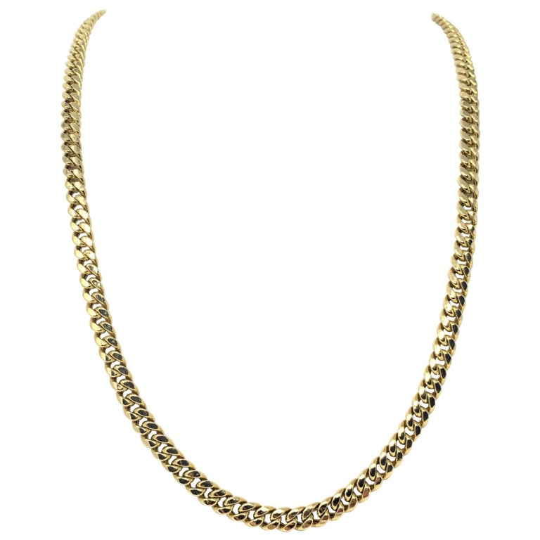 14 Karat Yellow Gold Hollow Cuban Curb Link Chain Necklace For Sale