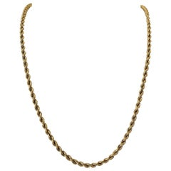14 Karat Yellow Gold Hollow Long Rope Chain Necklace