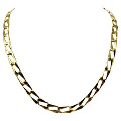 14 Karat Yellow Gold Hollow Rectangle Curb Link Chain Necklace