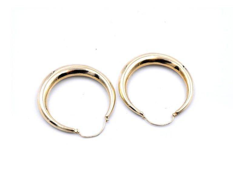 Women's or Men's 14 Karat Yellow Gold Hoop Earrings For Sale