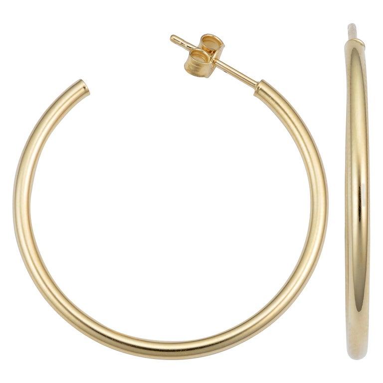 14 Karat Yellow Gold Hoop Earrings For Sale