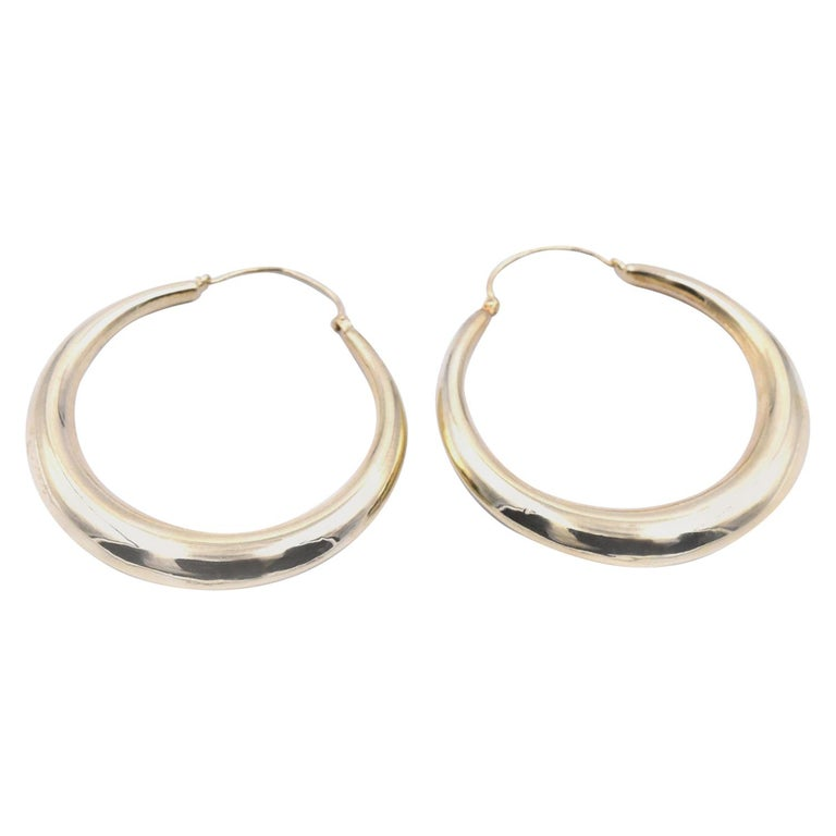 14 Karat Yellow Gold Hoop Earrings For Sale